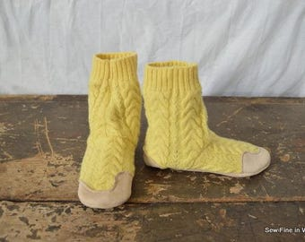 Youth size 1 (EU 31.5) CANARY Felted Wool Soccasins with Leather Soles, Toes and Heels