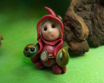 """20% off with Coupon Code: MICROGNOME20 Tiny 'Rhuwla' Snake Whisperer Gnome with coiled snake 1+1/2"""" by Sculpture Artist Ann Galvin Art Doll"""