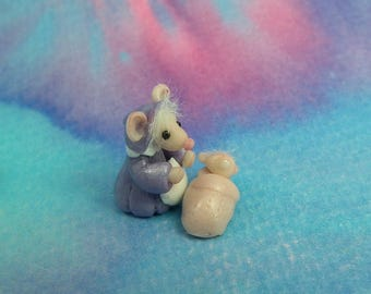 """Tiniest Mouse 'Marcie-Mousie' with baby mousling in crib 3/4"""" OOAK Sculpt by Sculpture Artist Ann Galvin Art Doll"""