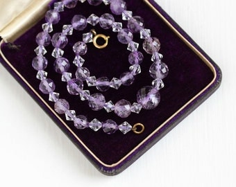 Vintage Art Deco Genuine Amethyst Bead Necklace - 1930s Purple Gemstone 16 Inch Single Strand Gold Filled Clasp February Birthstone Jewelry