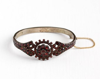 Sale - Antique Victorian Bohemian Garnet Gem Bracelet - Late 1800s Hinged Deep Red Gemstone January Birthstone Gilded Flower Bangle Jewelry