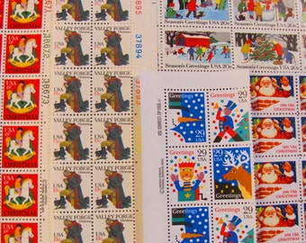 Christmas Mega Mixture 125 UNused Vintage US Postage Stamps Traditional Contemporary Angel XMas Save the Date Holiday Santa Toys Philately