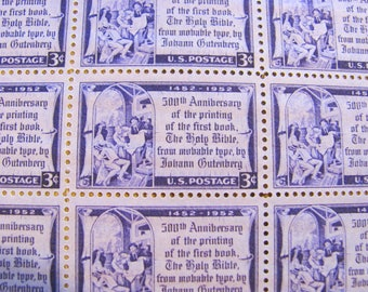 Praise the Printmaker 50 Vintage UNused US Postage Stamps 3-c Gutenberg Bible Printmaking Typeset Purple Wedding Save the Date DC Philately
