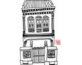 Digital coloring page of the shophouse (Singapore) / hand drawn/ freehand sketch/ illustration/ colouring/ instant / nanyang/ shop house