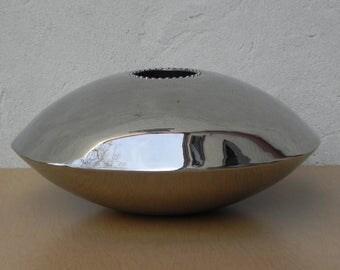 Large Flying Saucer Chrome Vase