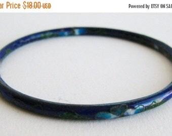 SPRING SALE Vintage Fine Old Chinese Blue Cloisonne Flowers Bangle Bracelet
