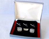 Vintage SWANK Mother of Pearl Cufflink & Stud Set Sophisticated Silver and Gray