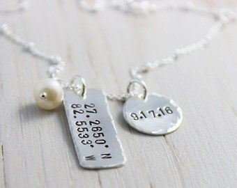 stamped coordinates necklace | hand stamped sterling silver disc tag | location pendant | latitude and longitude necklace | location jewelry
