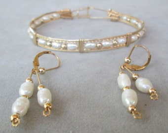 Pearl Bracelet and Earrings Set - Freshwater Pearls with 14K Gold-Filled Wire and Beads