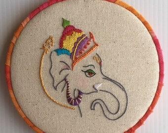 Little Ganesha Hand Embroidered Hoop Art