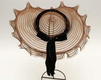 vintage 1940s New York Creation picture hat • brown WIDE BRIM horsehair hat