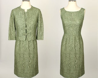 vintage 1960s dress set •  spring green lace dress with bow jacket