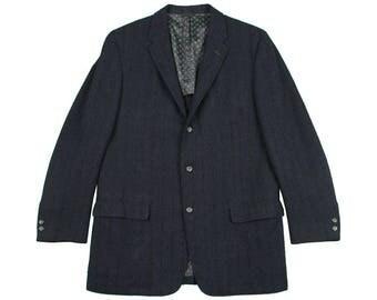 vintage 1950s blazer • 3 button TEXTURED STRIPES dark blue wool sports coat