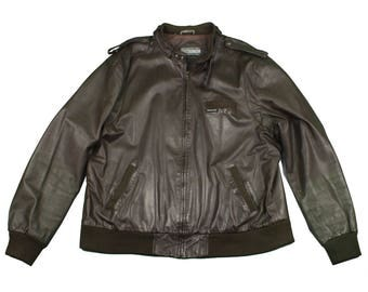 mens MEMBERS ONLY XL jacket • vintage 1980s 90s leather jacket
