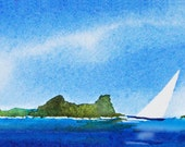 Day Sail, Watercolor Giclee Print, Imaginary Islands, Pacific, Clouds Sailboats, Seascape