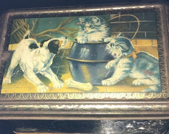 Vintage French Country Tin Dog Cats Puppy Kittens Playing in a Graniteware Enamelware Pot, Birds and Lily of the Valley with Art Deco Roses