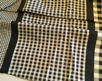 Vintage Gingham Fabric Black White Checks