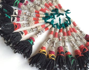 20 BEADED black tassels tribal ethnic kuchi american tribal costuming