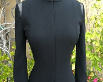 Vintage 1990s designer Akris black high collar long sleeves wiggle cocktail dress size XS S