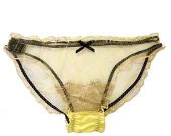 Henrietta PALE LEMON Silk Tulle and Scallop Gold lace Scrunchie knicker pantines, briefs  - Sheer lingerie, babydoll panties