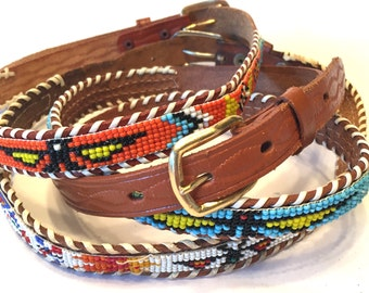 Set of Three Western Belts Beaded Children's and Adult Size