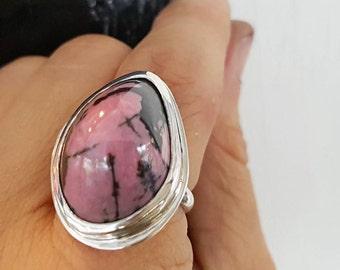 Rhodonite Freeform Ring