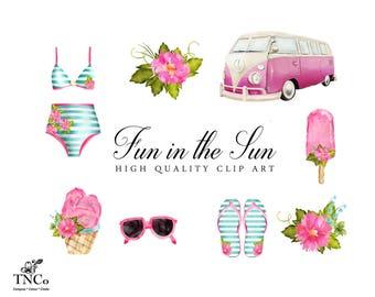 Camper Van Clipart - Tropical Clip art - Digital Clip art - Watercolor Clip art - Bikini set - Commercial Use Digital Clip art - Flowers