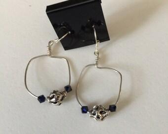 Sterling Silver earrings with genuine Swarovski crystals in Indigo