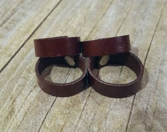 Leather Ring -Unisex Brown Leather Ring - Brown Ring Band - Leather Jewelry - Leather Band - Wedding Ring Band