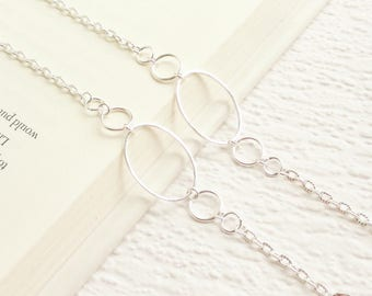 Silver Eyeglass Chain, Simple Silver Eye Glass Necklace Holder Lanyard, Plain Silver Glasses Chain For Women, Silver Glasses Chain