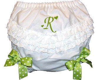Personalized Ruffle Butt Bloomers Lime Bows Baby Girl  Bloomers, Diaper Cover