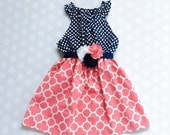 Navy and Coral-Pink Girl's Spring Dress - Baby Girl Dress - Girls Dresses - Spring Dresses - Sleeveless Dresses - Easter Dress - sleeveless