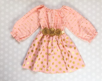 Dots and Arrows Dress - Girls Valentines Dress - Girls Gold Dress - Dresses for Girls - Peach and Gold Dress with Long Sleeves - Baby Girl