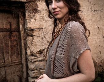 Knitted Silk Bohemian Crochet Vest Earthy Grey  Fair Trade Boho Romantic Natural