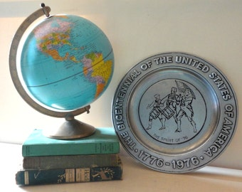 Vintage Collectible Pewter Plate Bicentennial Commemorative United States of America Spirit of 1976