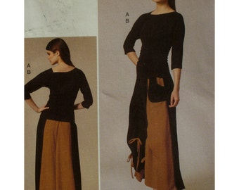 Rouched Skirt Pattern, Rouched T-shirt, Full Skirt, Elastic Waist, Elbow Sleeves, Stretch Knits, Vogue No. 8737 UNCUT Size 14 16 18 20