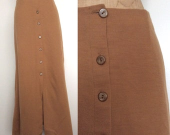 """1970's Camel Colored Wool Button Up Maxi Skirt Size Medium Large 29"""" Waist by Maeberry Vintage"""