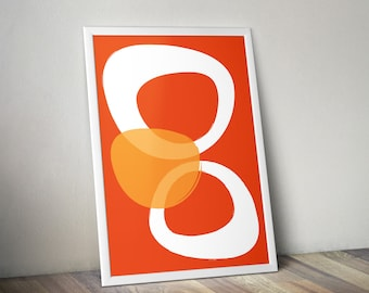 Abstract Mid-century Style Printable Art Poster | Bold Tangerine | Digital Download