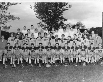 1946 Football Team Real Photo w/ Names - Vintage B&W High School, Possibly Waseca MN