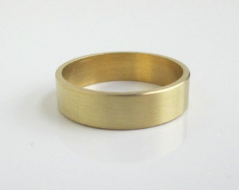 Solid Brass Band / Gold Ring - Slight Brushed Texture, Size 6 1/2