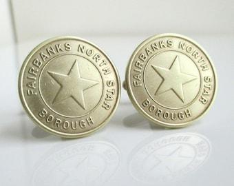 FAIRBANKS Coin Cuff Links - Alaska Repurposed Vintage Transit Tokens, North Star Borough