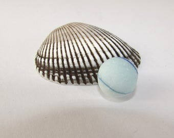 Large BLUE SEAGLASS MARBLE Pale Blue with Swirl Genuine Surf Tumbled Beach Find Mexican Mexico Mermaid Tears Jewelry Making