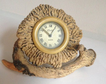 antique faux antler clock with celluloid