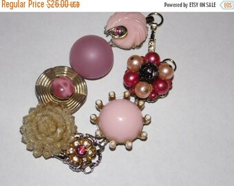 25% Off Sale Vintage Earring Bracelet/Shades of Pink and Sparkle/Free Shipping