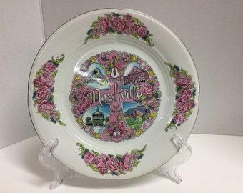 Vintage Nashville Souvenir Plate Gold Trim
