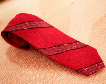 Red Wool Striped Tie