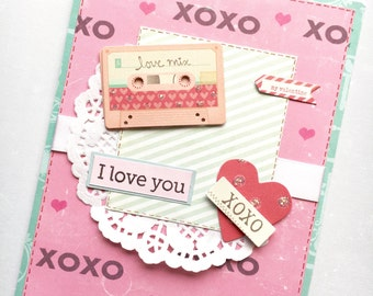 Happy Valentine's Day Greeting Card - 80s Love Mix Cassette Tape Handmade Paper Card with Coordinating Hand Stamped Embellished Envelope