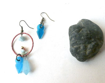 Blue and red point stone earrings ( pendulum, mermaid, gemstone, sky ) 01