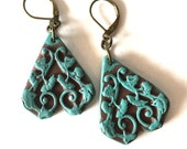 Baroque Trapeze Dangling Earrings - Rustic and Romantic - Turquoise Textured Earrings