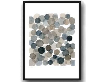 Watercolor Black bubbles  Abstract watercolor print, abstract painting dots